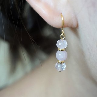 << Peach Pollen Powder - Powder Crystal >> Natural stone dangle earrings (can be changed ear clip)