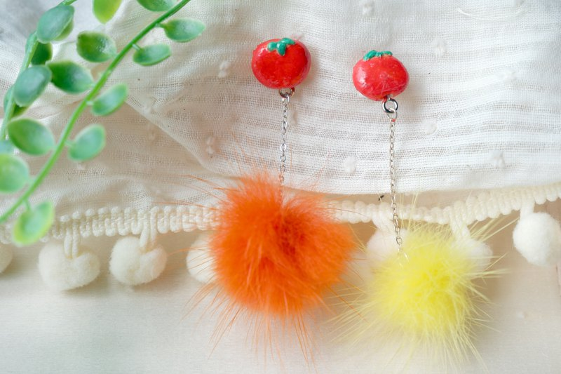Cute tomato colored hair ball earrings custom made