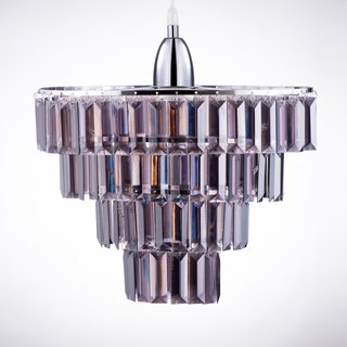 BNL00043- multilevel blackened chrome chandelier acrylic sheet