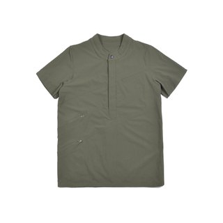 oqLiq - AdHeRe - Yamakawa variant Henry collar short-sleeved top (green)