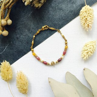 Classic rice roll brass Bracelet - Rose Stone