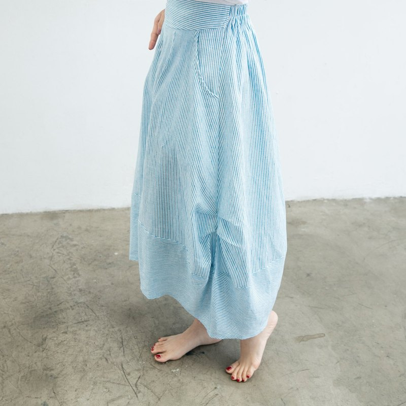 Cotton round skirt-blue and white stripe (spring and summer)