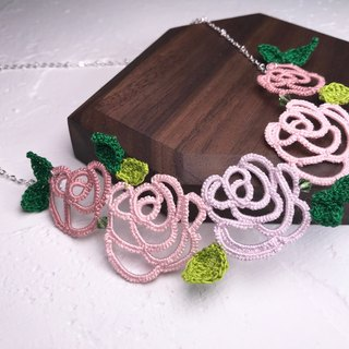 tatted rose necklace (pink) / gift / Swarovski crystal / customize