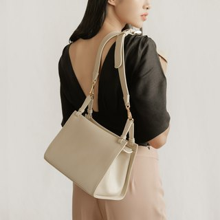 "''Libra"" leather shoulder bag - Cream"