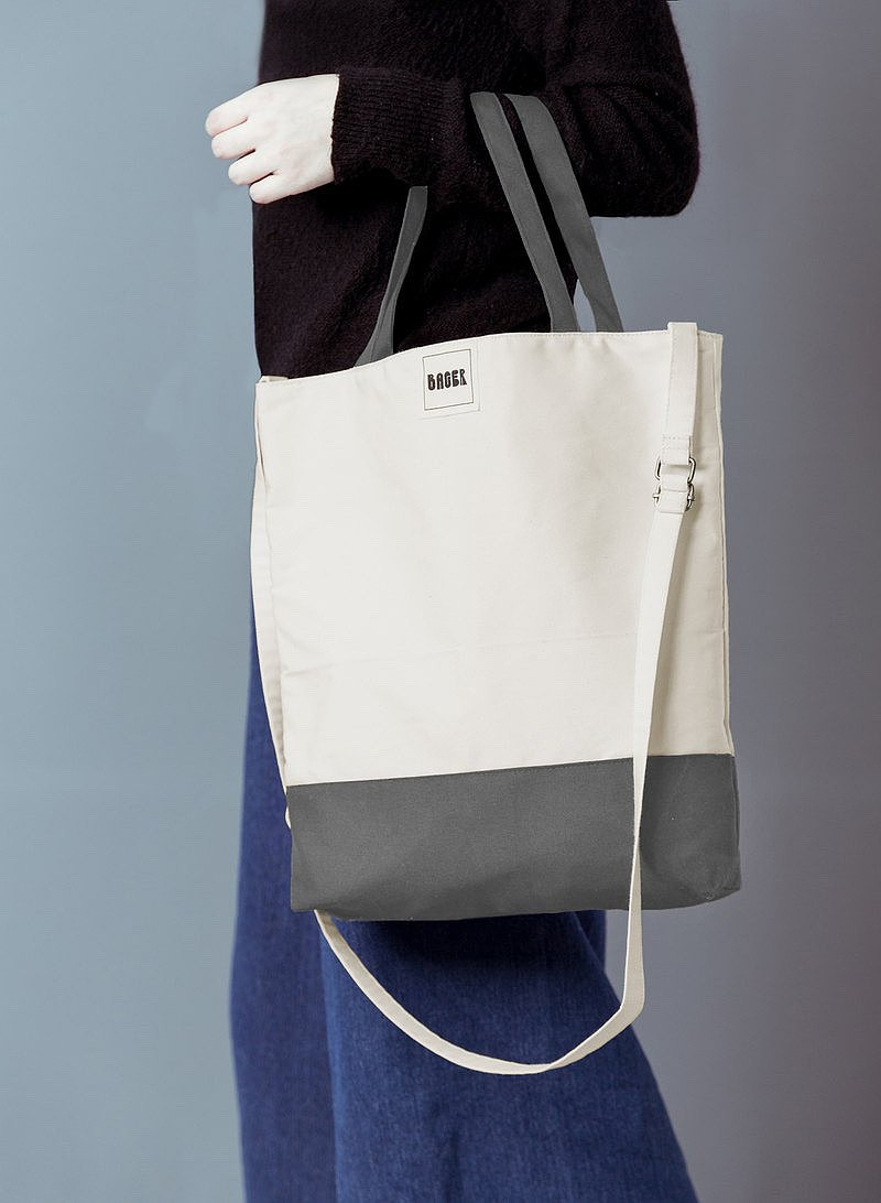 Non-printed color matching adjustable strap three-use canvas bag / shoulder / portable / diagonal back / beige + gray
