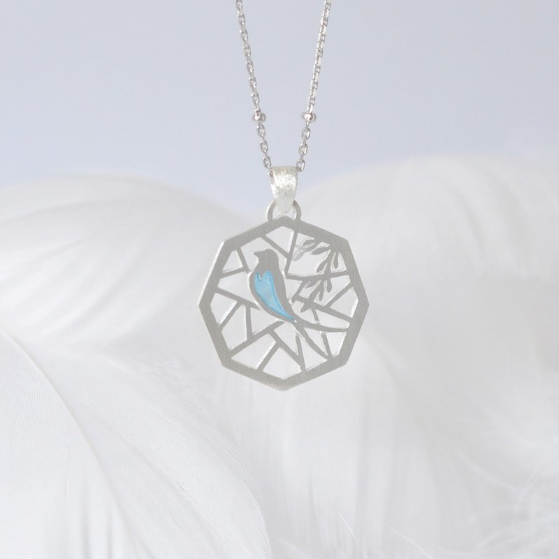 Swallow staying the window / 925 Silver Transparent Enamel Necklace-Gift for her