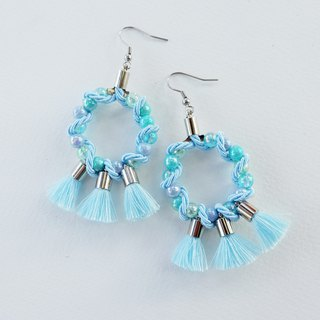 Blue circle earrings with blue tassels