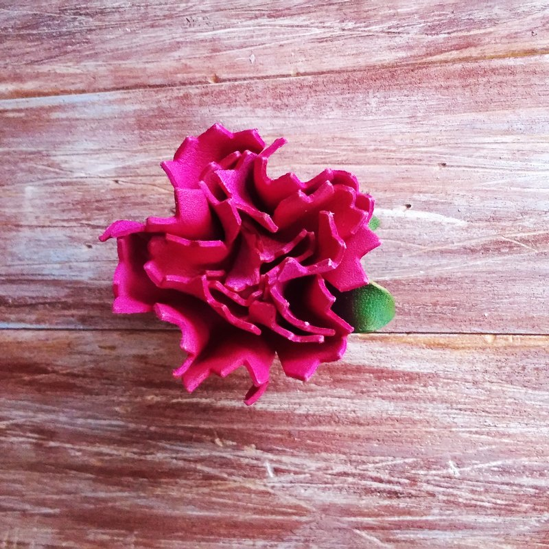 Leather Flower Carnation Mother's Day Pink Brooch Necklace Clip