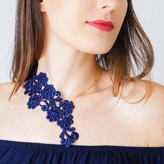 NAVY BLUE Clothing Gift Lace Necklace Statement Necklace Jewelry Gold Necklace Girlfriend Gift Mom Gift For Her / VARISA