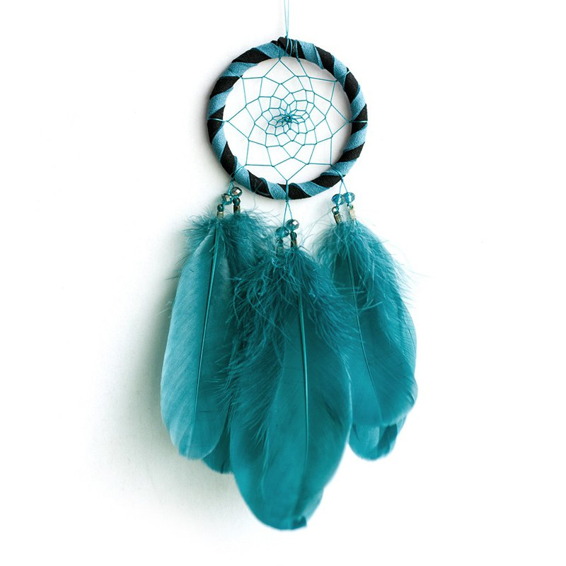 Two-tone (black + Turkish blue) - Dream Catcher 8cm - Gift for boyfriend