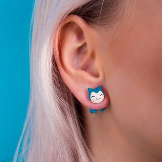 Blue Cat Earrings - Kawaii Cat Earrings Polymer Clay