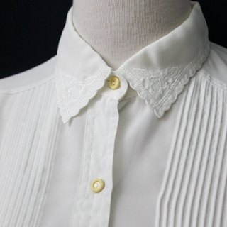 [RE0407T1960] Department of Forestry retro elegant embroidery lapel vintage white shirt