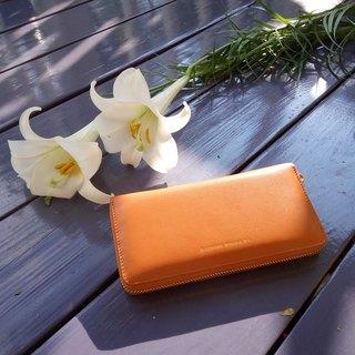 [La Poche Secrete] favorite zipper zipper clip _ positive leather _ fashion orange