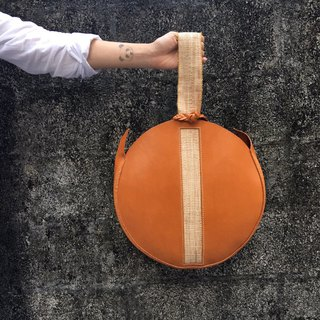 Exclusively Sold HereOriginal designHandmade Leather Round Banana Silk Clutch