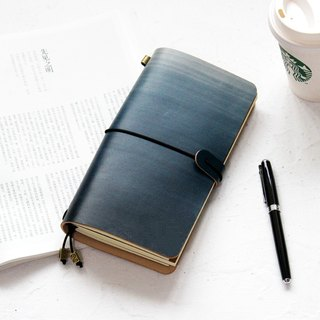 Mountain sea blue gradient dyed handbook leather notebook diary TN travel book can be customized