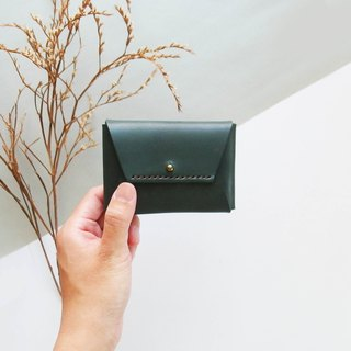Classic envelope card purse - loose green - leather / coin purse / fashion / hand-made / practical / color / business card
