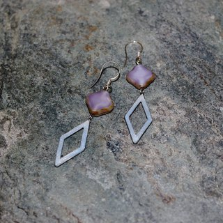 Rhombus Soft Pottery Earrings - Pearl White X Pearl Powder Purple X Czech Glass
