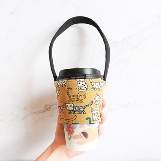 Eco-friendly beverage bag bag - cat print
