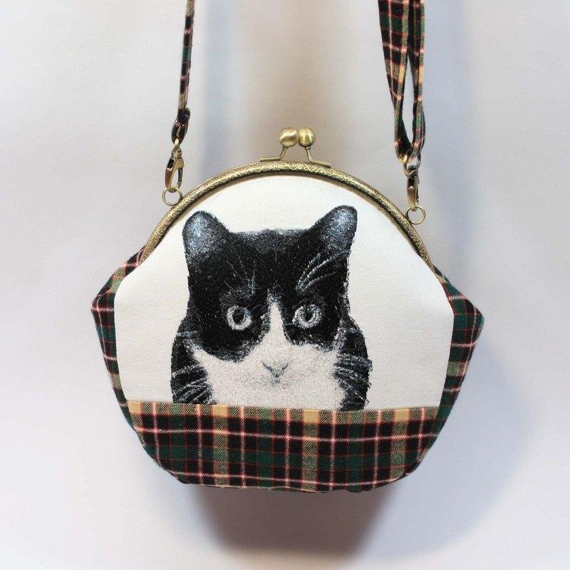刺繡 20cmU型口金斜背包02-黑白貓
