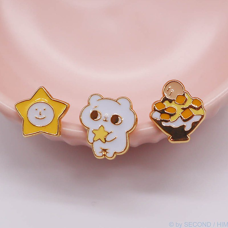 Cool cat hug starry mango ice three-piece earrings