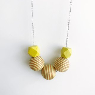 Yellow Orange Wooden Ball Necklace Birthday Gift Bridesmaid Gift Bridal Shower