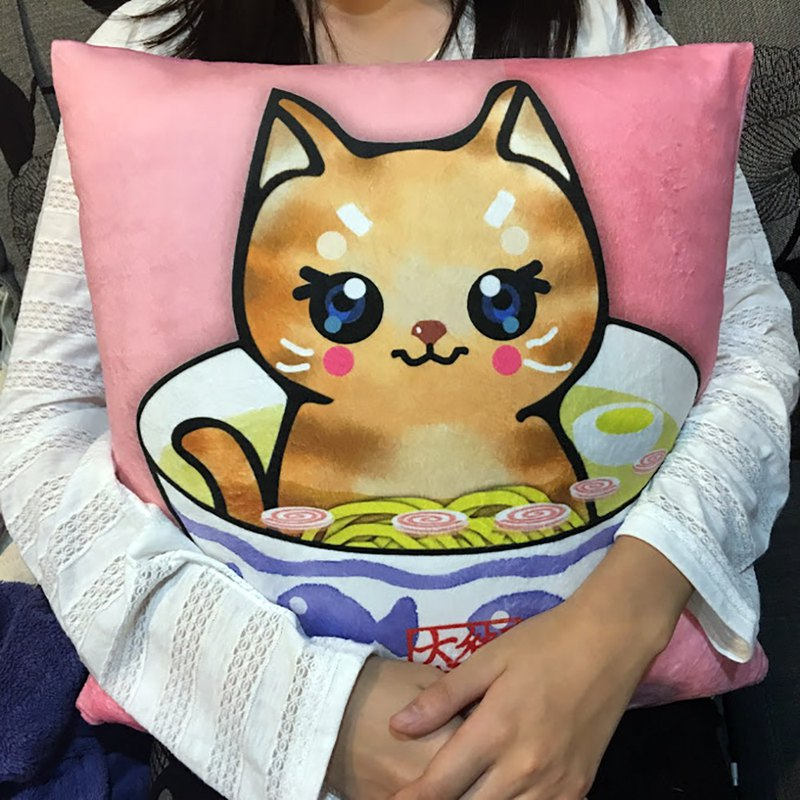David draw cat double sided pillow Salted Ramen cat + Oolong Ramen cat cute pillow 40cm X 40cm