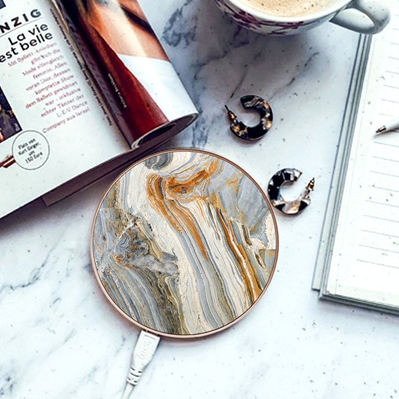 Illusion Texture marble Wireless Phone Qi Charger compatible with many phones
