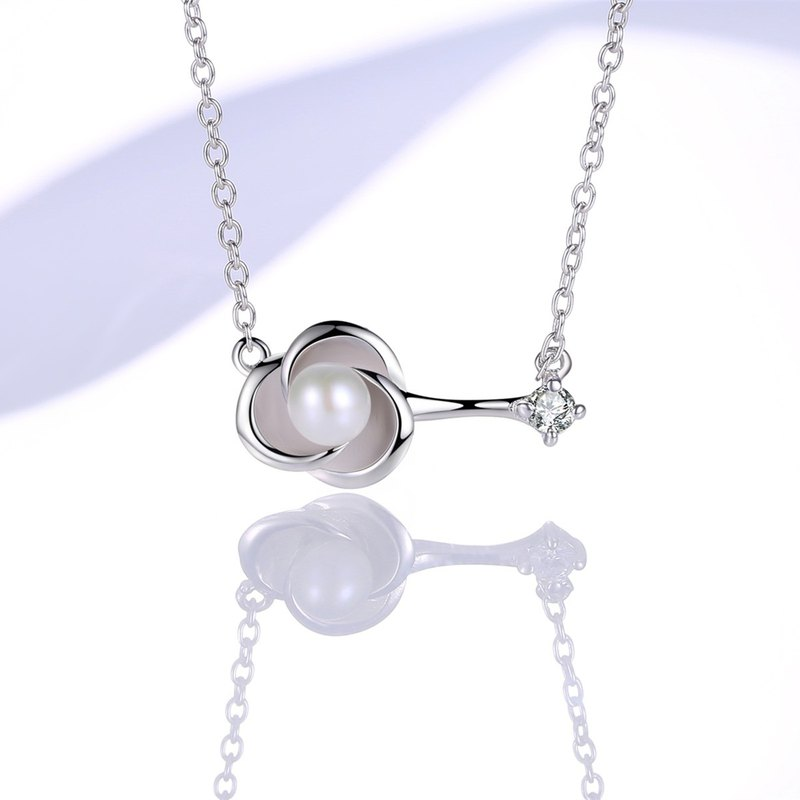Pintin early heart bud flower 925 sterling silver simple elegant pearl necklace