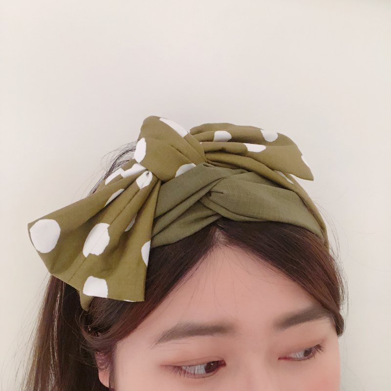Multi-layer wide version hair band _ matcha donut _ matcha color