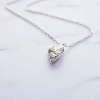 925 silver heart love ore texture necklace
