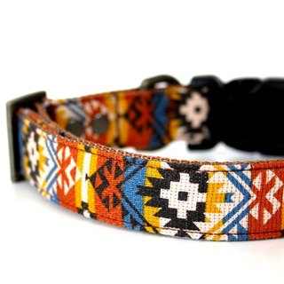 Southwestern BOHO Dog Collar - blue, mustard, black, yellow - Antique Brass Smal