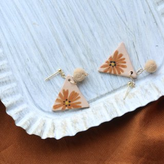 Hand-painted sunflower flower ceramic earrings pure silver ear clip