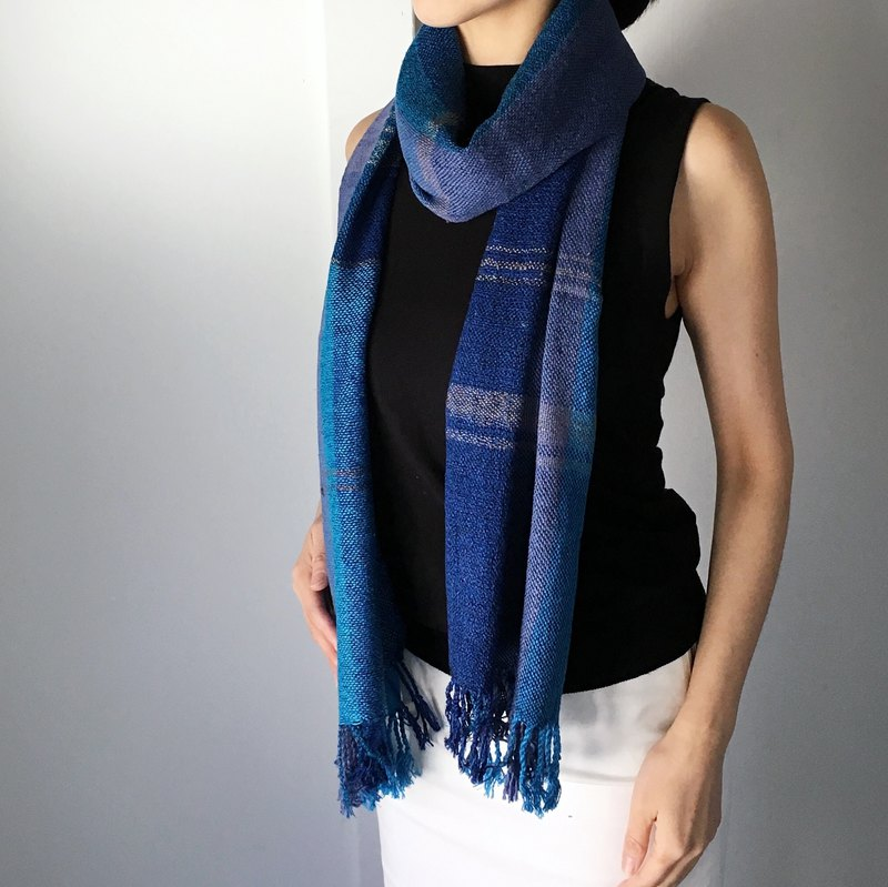 "Unisex silk scarf ""Blue Stripe"""