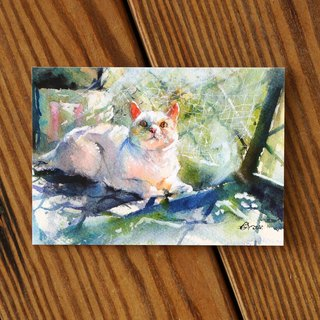Watercolor Painted Hair Series postcard - Early Summer Light