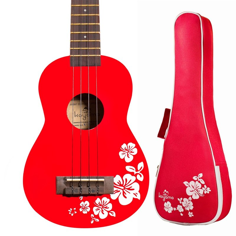 21 inch hibiscus flower color black cliff red Flora Soprano Ukulele / red