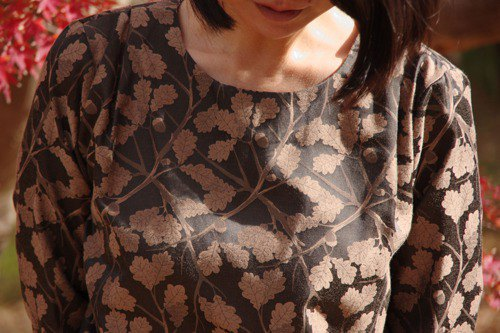 JACQUARD BLOUSE jacquard tops acorn forest brown