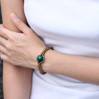 Chrysocolla Saturn Bracelets Brass Woven Eyes Exotic Woven Braided Cuff Bangle
