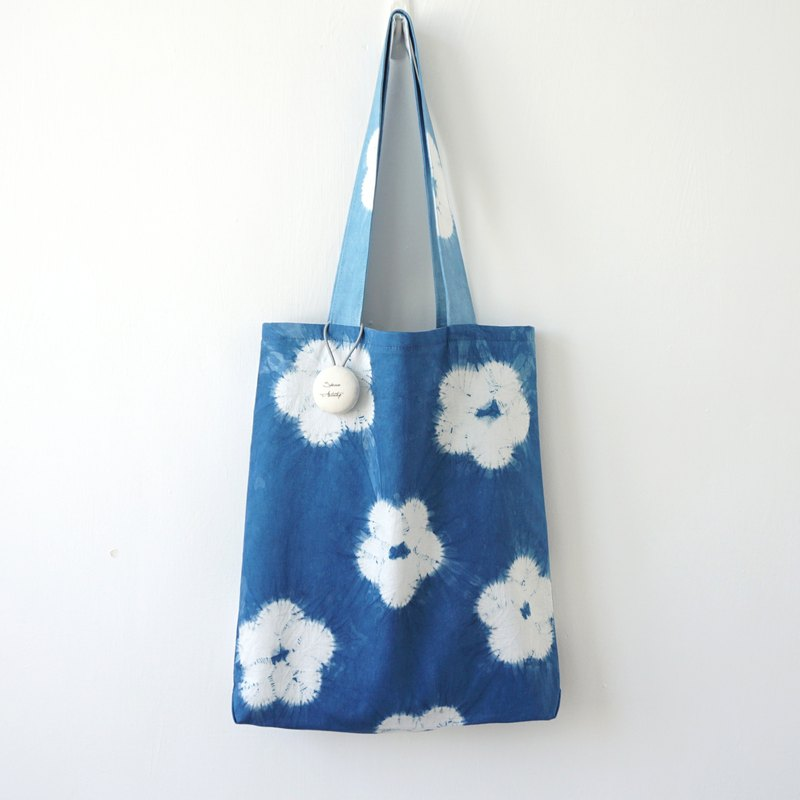 S.A x Cherry Blossom, Indigo dyed Handmade Natural Pattern Tote Bag