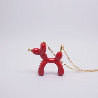 Balloon Dog Necklace Red