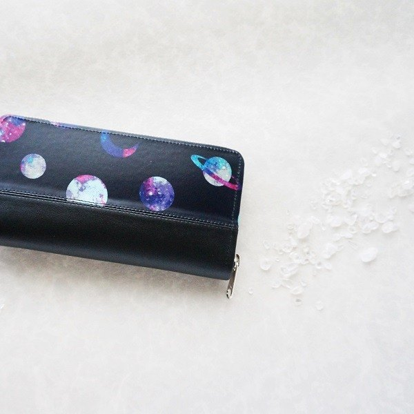 Black Space Moon and Planet Round Zipper Long Purse