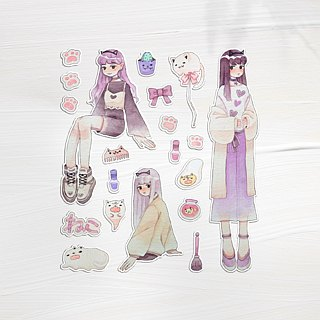 Yong girl hand painted watercolor sticker 20 into