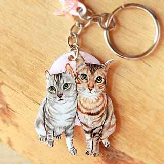 Pet customized illustration key ring two (Please confirm the time before payment)