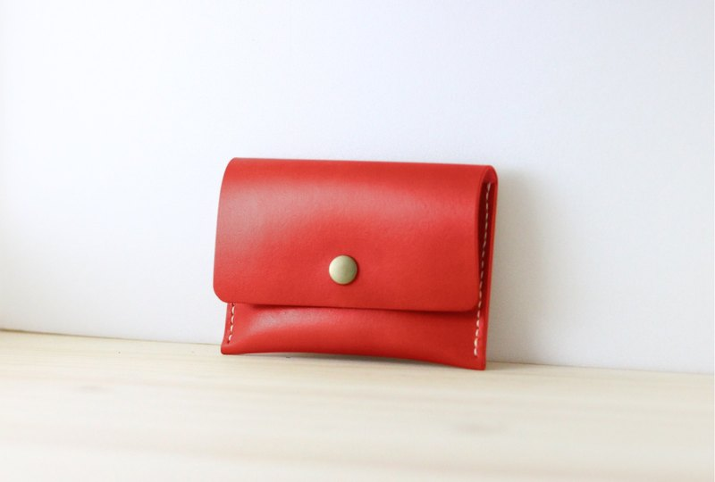 LION's Handmade Leather Coin Purse / Card Case ( Dull Red )