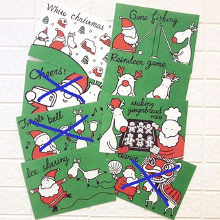 Christmas Card - Santa Claus with Elk Postcard B Package (6 pieces)