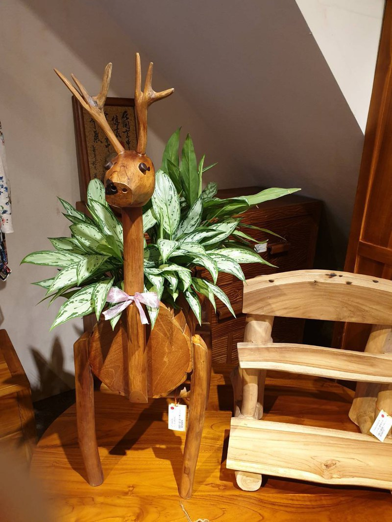 JatiLiving | Teak Deer Flower Stand Large