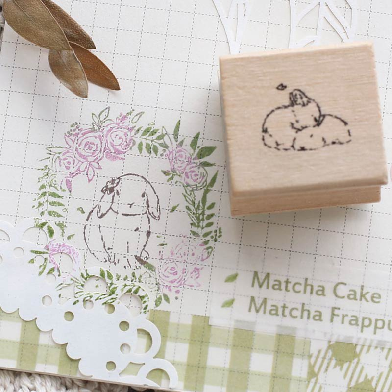 Letter of lovers wooden seal <萌萌花茶兔> watercolor cute bunny hand account garland retro creative