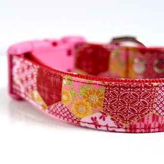 Floral Hemp Leaves Patchwork Dog Collar - Red, Pink- Small Size- Pink Buckle