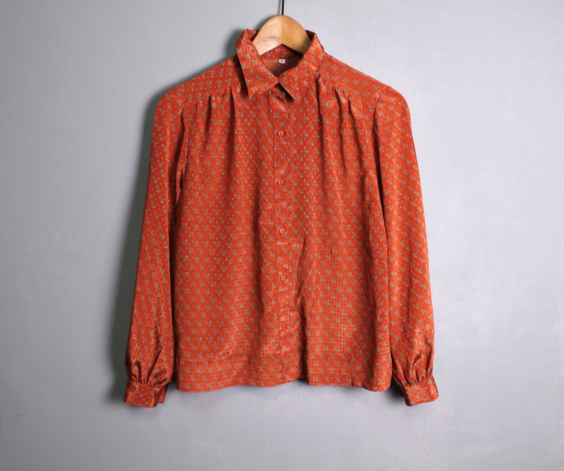 FOAK vintage late autumn maple red glossy shirt