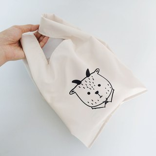 Green small shopping bag beverage food bag fat sheep Mr. white