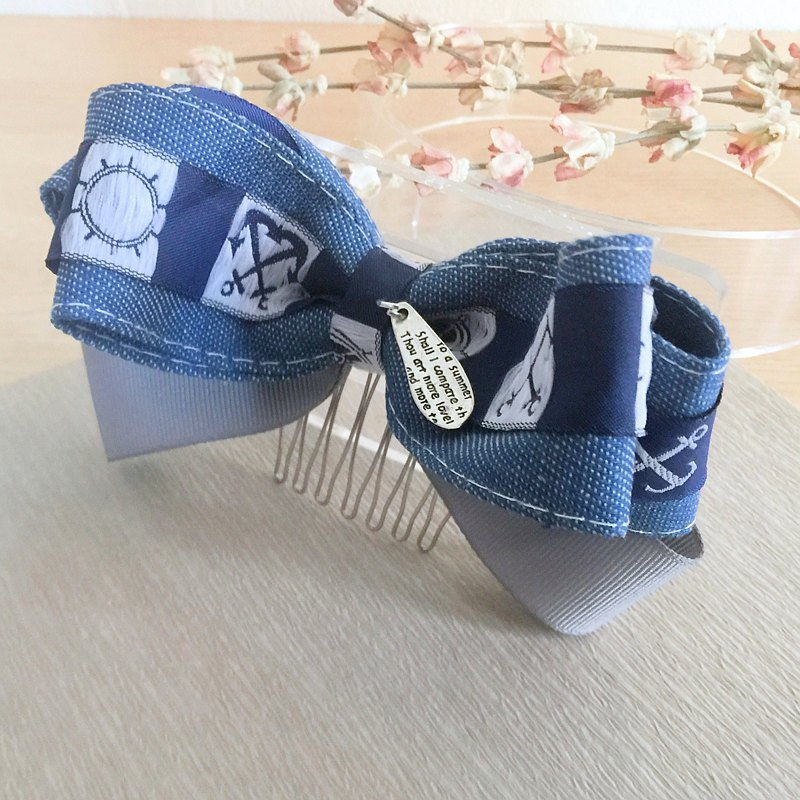 Personalized denim three-dimensional bow hair fork automatic clip shark clip hair ring spring clip hair ring hair bundle